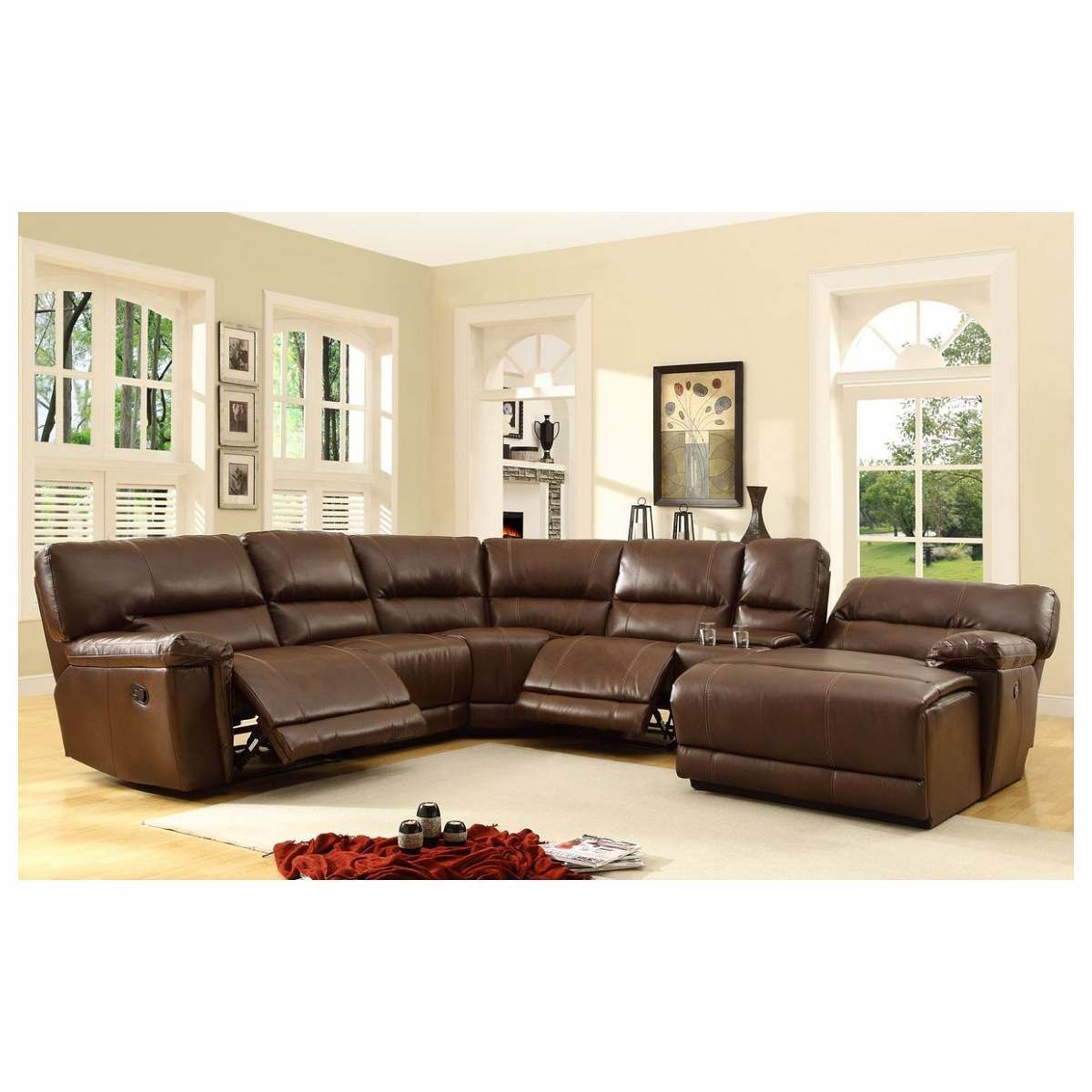 leather recliner sectional sofa montgomery ashley furniture 6 pc blythe collection brown bonded match