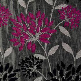 27 Pounds Per Meter Bolero Fuschia Dark Grey Chenille Fabric