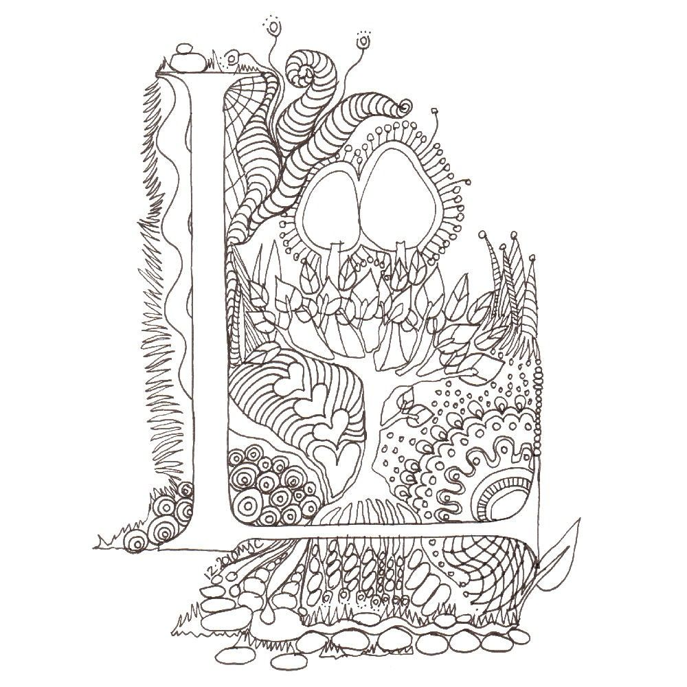 High Quality Free Coloring Pages Download : Monogram L Initial Colour Me In Illuminated  Letters Original Of Illuminated