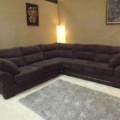 Dylan Jumbo Cord Black Fabric Corner Group Sofa Covers Stretch Juno Chocolate Brown With Rhino Leather
