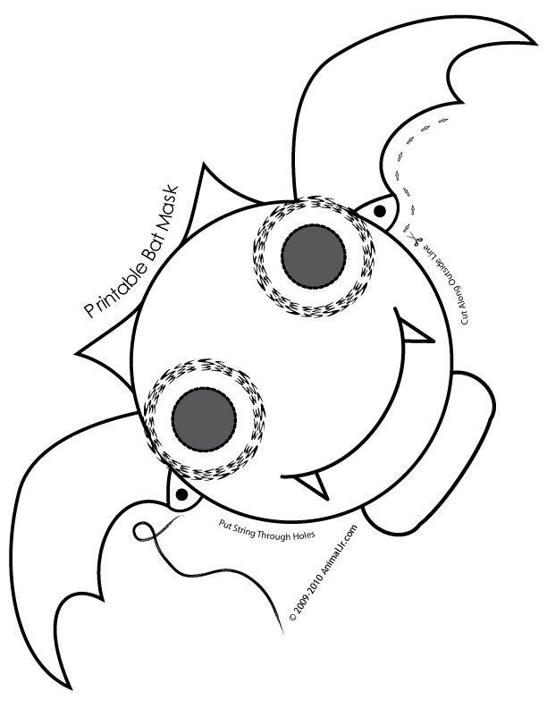 Cute Printable Halloween Animal Paper Masks bat-mask