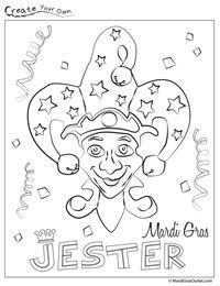 Fun Mardi Gras Jester coloring page: print it out for free