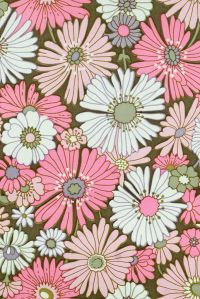 Pink Floral Wallpaper. Original vintage flower wallpaper ...