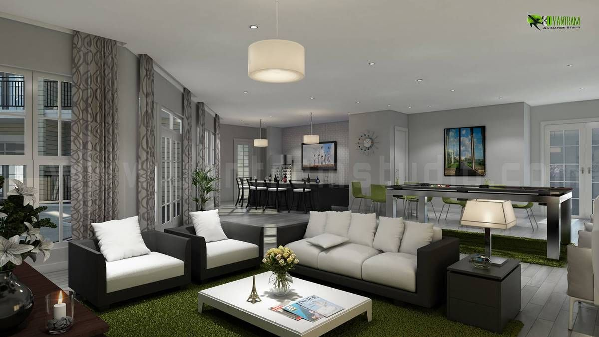 InteriorDesign Rendering For #Club #House Living Room And Kitchen
