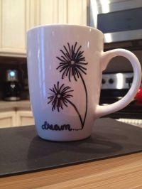 Hand painted coffee mug. dream...dandelions | sjov kop ...