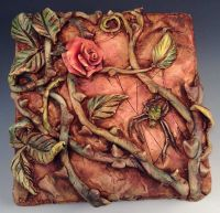 ceramic and polymer clay tile art | Rose and Spider ...