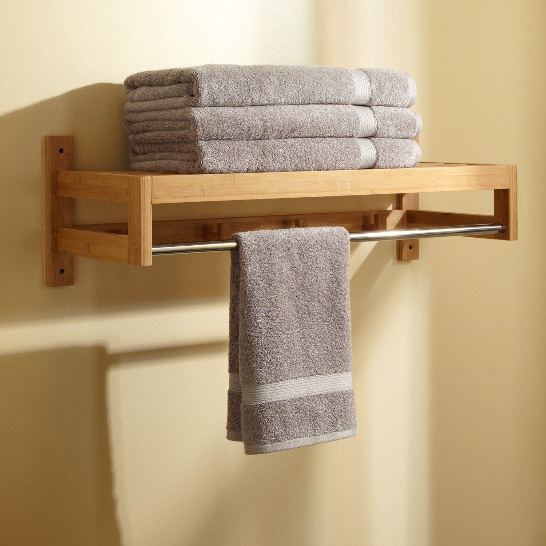 Pathein Bamboo Towel Rack With Hooks  Bathroom towel