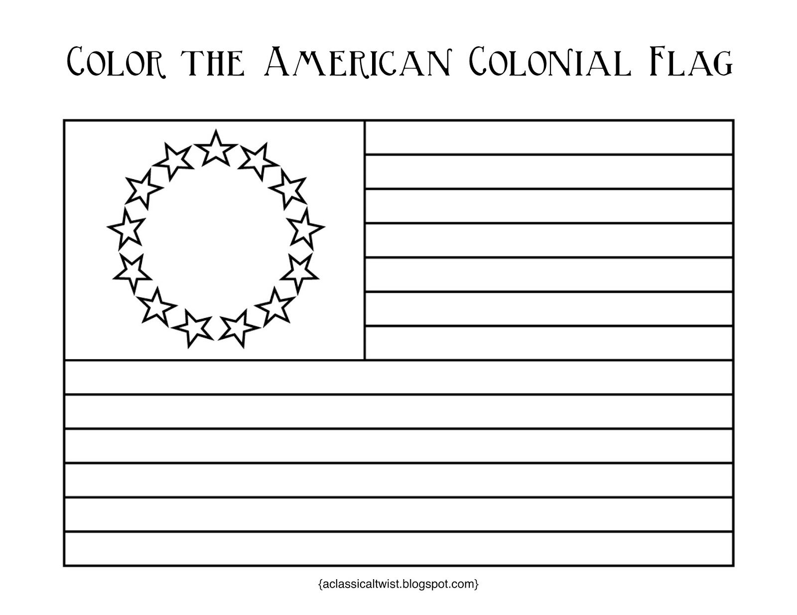 Homeschooling With A Classical Twist Original 13 Colonies And Colonial Flag Printable