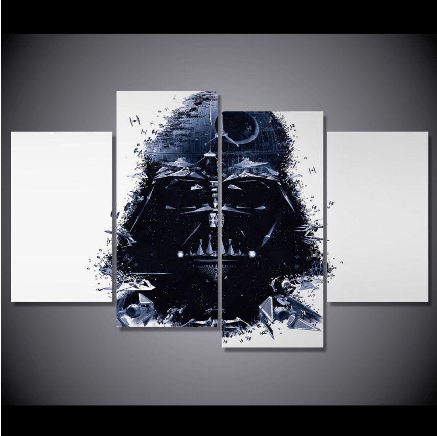 4 Panel Framed Star Wars Darth Vader Canvas Wall Art