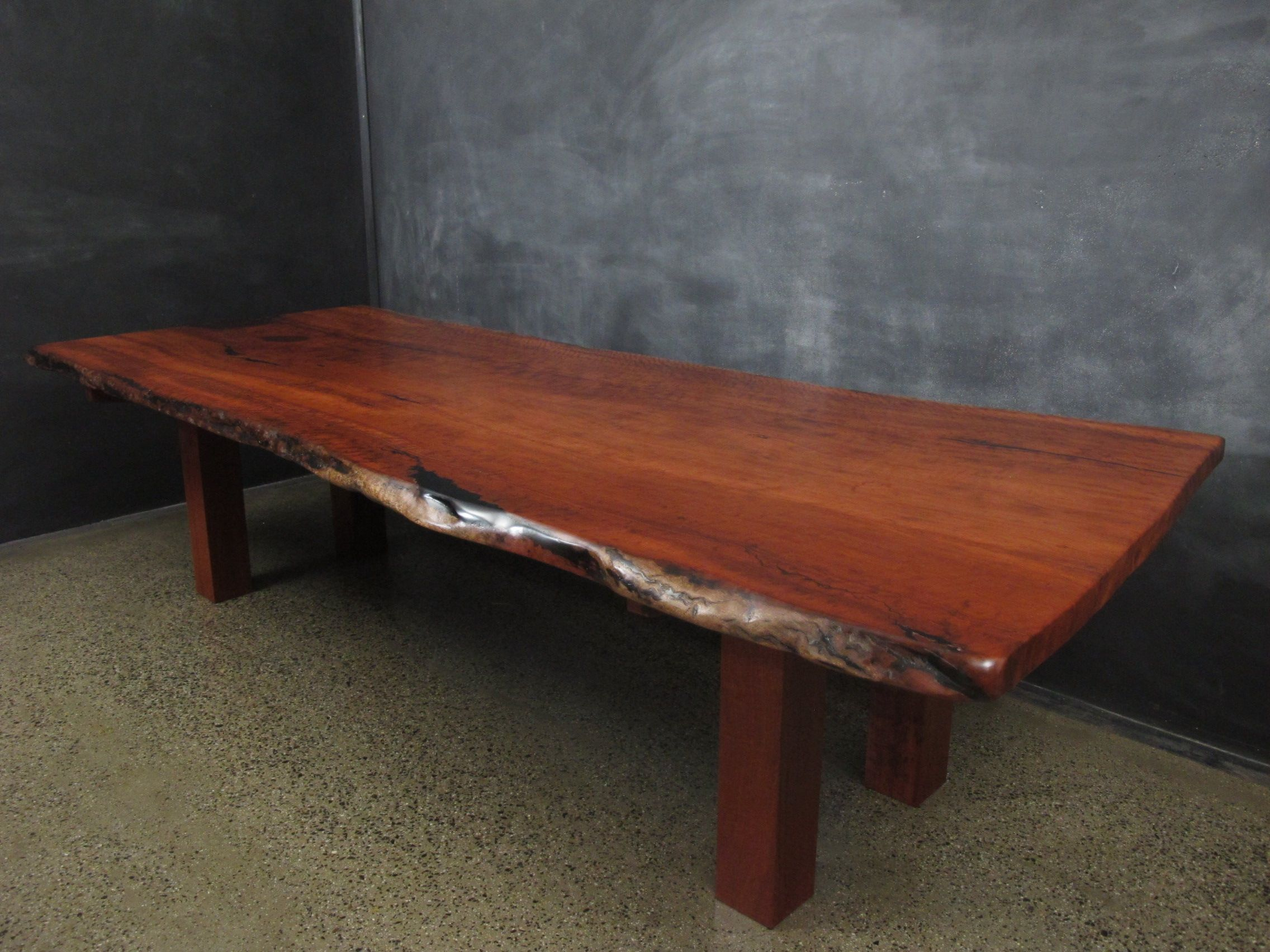 Natural Edge Red Gum Slab Top Dining Table.