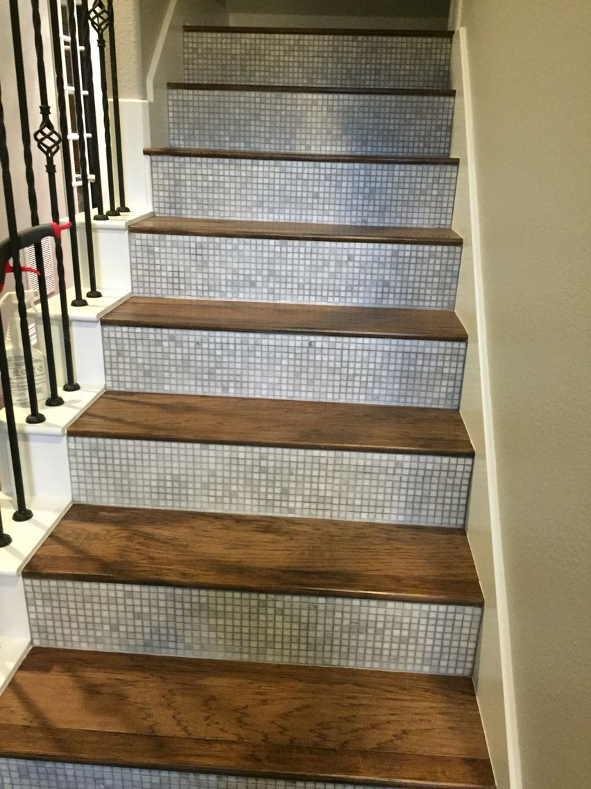 Tile Stair Risers with Hickory steps.