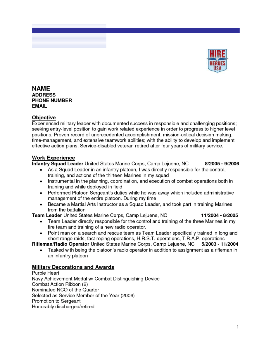Infantry Resume Examples - Examples of Resumes