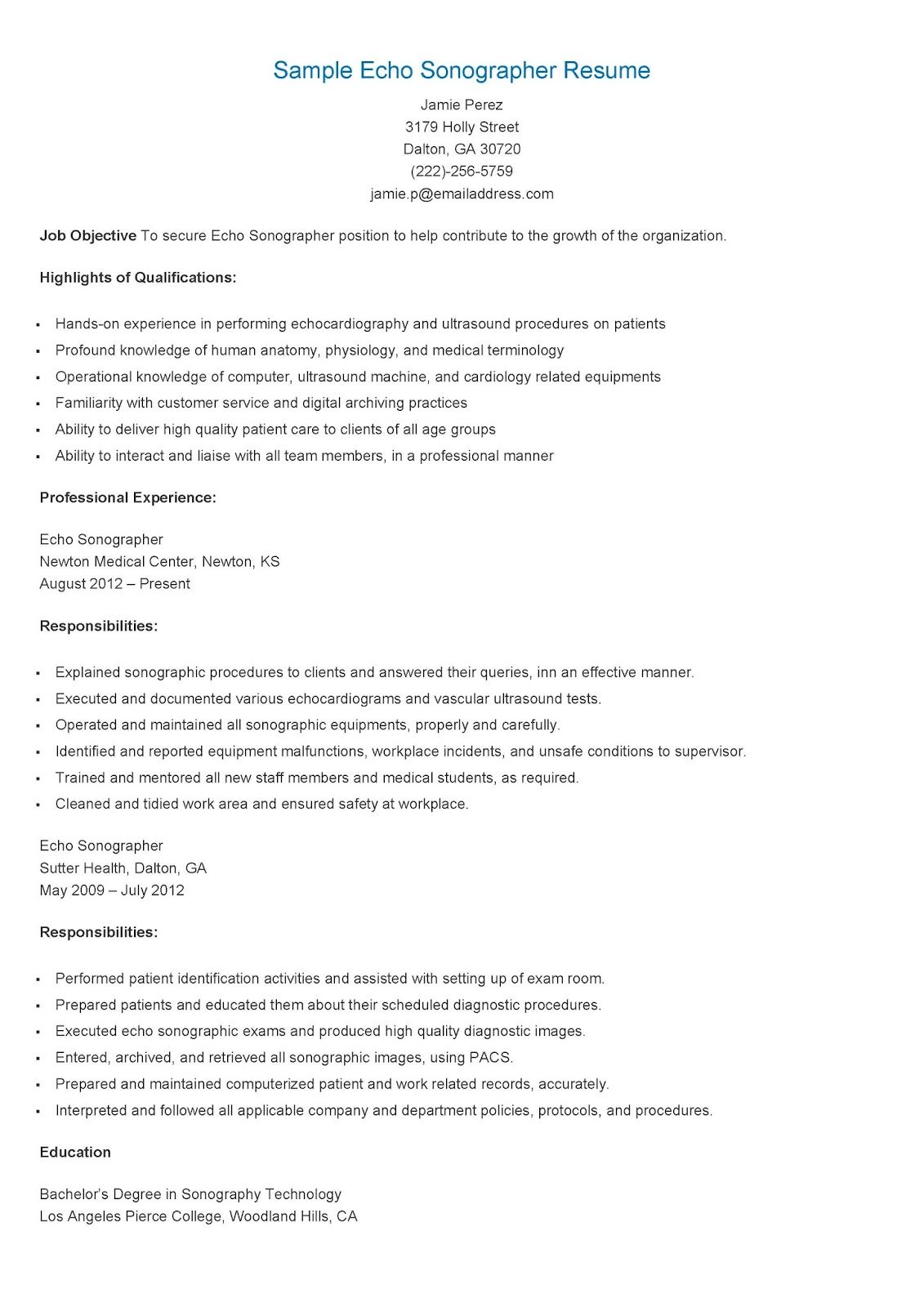 Ultrasound Resume Examples Examples of Resumes