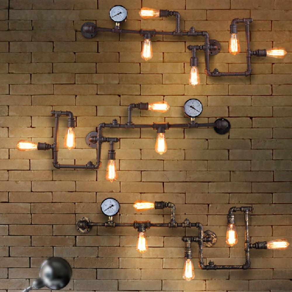 Vintage Steampunk Pipe Bar Wall Lamp Industrial Rustic