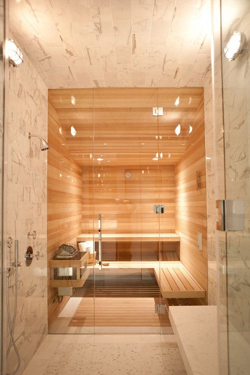 sauna design in stone wood and glass  bathrooms