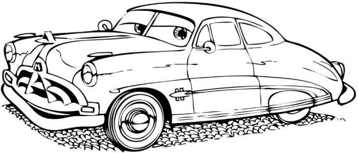 Cartoon Car Doc Hudson Coloring Page (no instructions