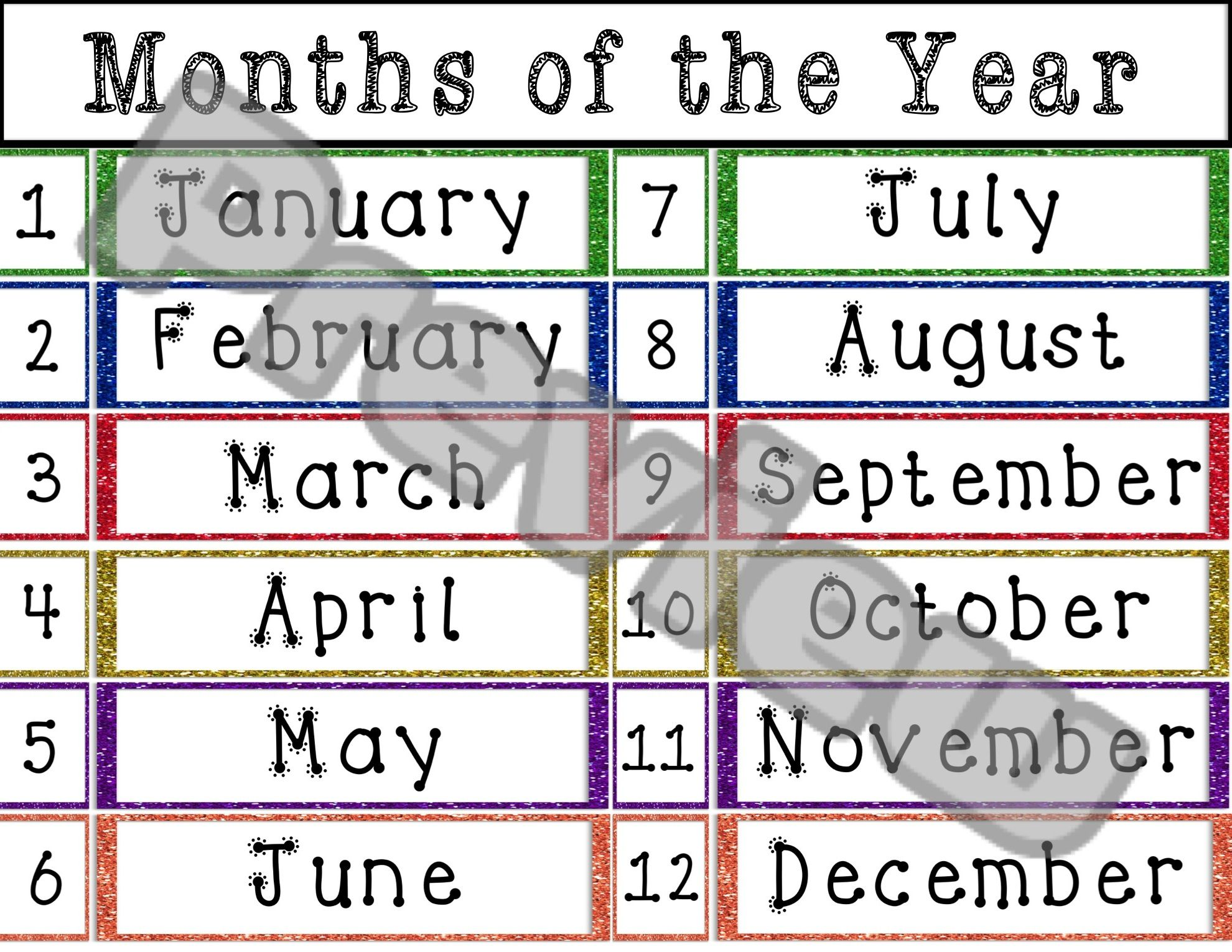 Glitter Themed Classroom Months Of The Year Vocabulary