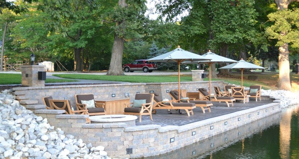 two tiered retaining wall on a lake  Retaining Walls  Pinterest  Lakes Walls and House