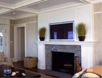 beadboard-backed coffered ceiling, white paneled fireplace ...