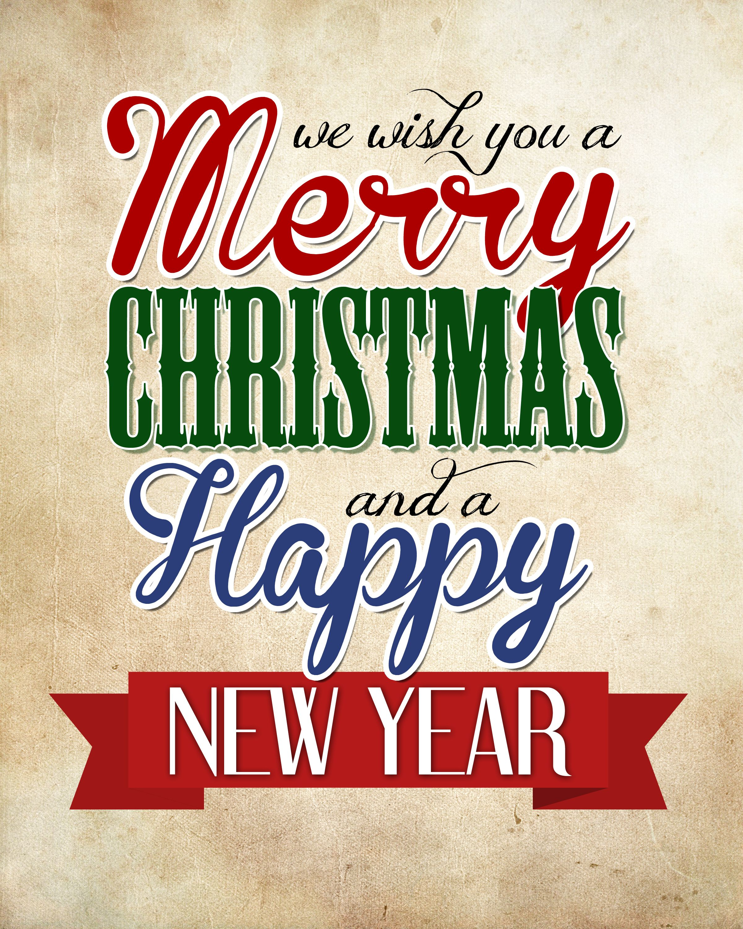 Merry Christmas Amp Happy New Year Free Printable