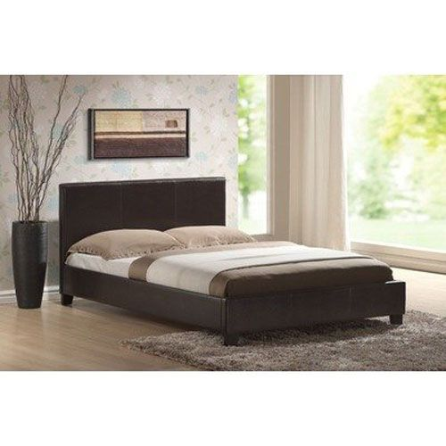 Dark Brown Faux Leather Double Bed Frame With Headboard
