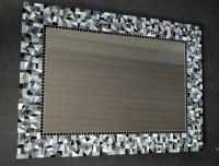 Mosaic around bathroom mirror- get cheap, crushed tile ...
