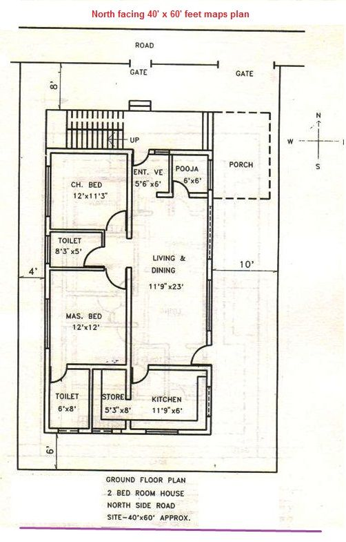 Maps3north Facing 40x60 Feet Plan Vastu Pinterest House