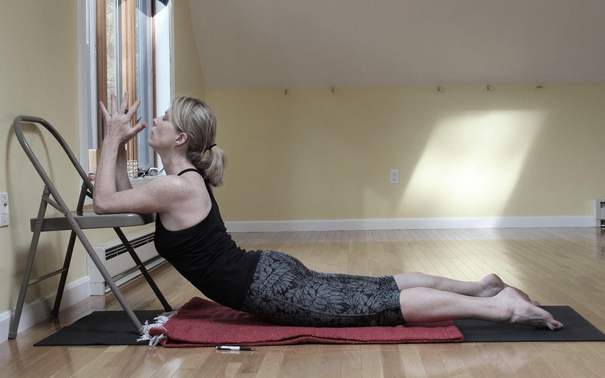 office chair yoga youtube cohesion gaming bhujangasana variation iyengar back bends