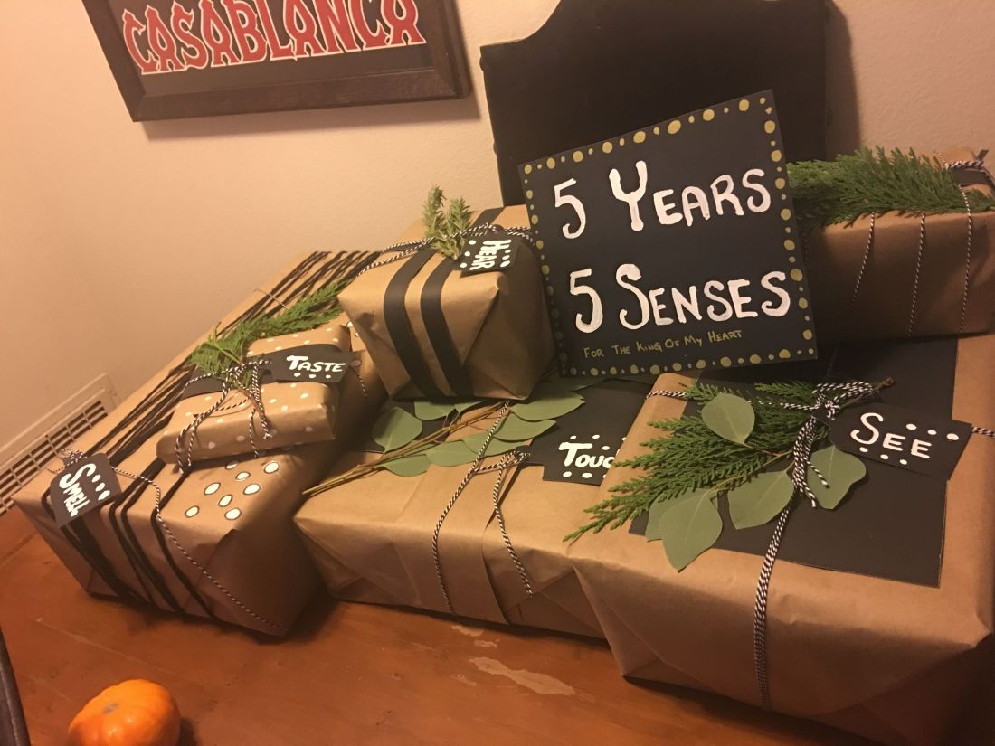 5 senses gift for him 5 year anniversary present