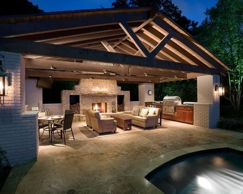 pool house with outdoor kitchen Pool House with Outdoor Kitchen | Farm house ideas | Pinterest | Pool houses, Kitchens and House