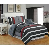 Modern Teen Boys Microfiber Striped Grey Red 5-PC ...