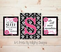 Pink Black Nursery - Black Damask Dcor - Let Her Sleep ...