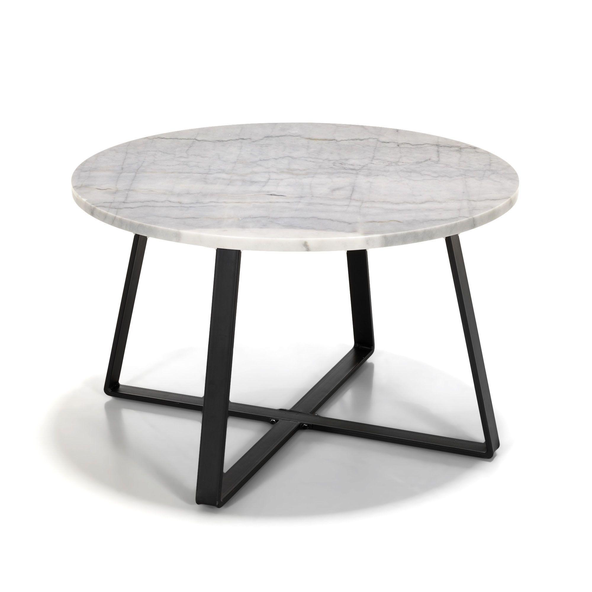 Table basse en mtal avec plateau en marbre Blanc et noir
