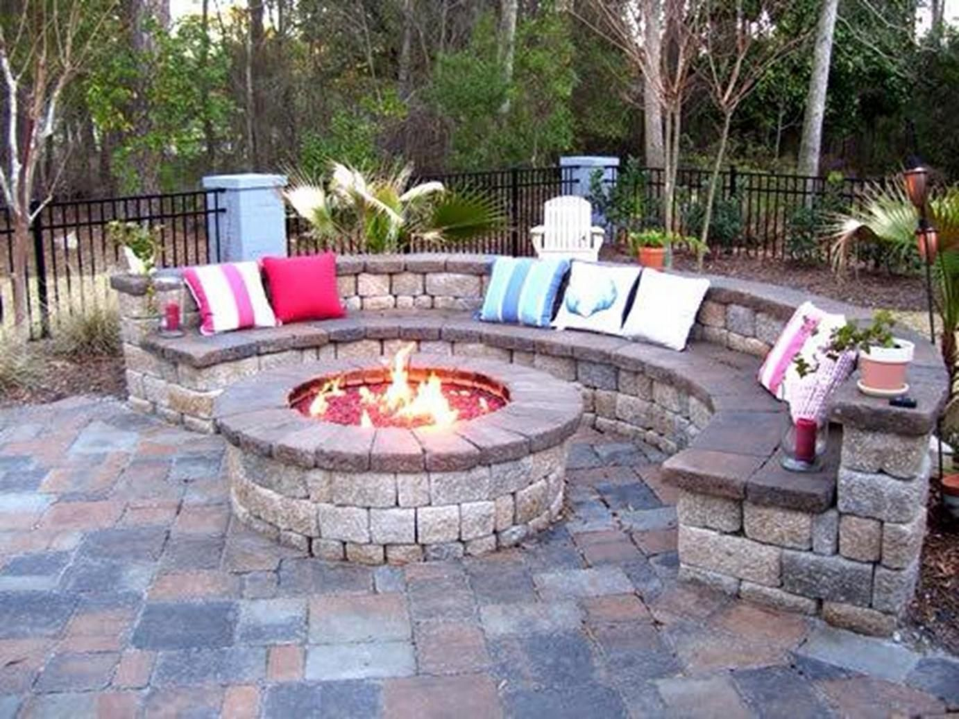 Good Backyard Patio Rustic House Design With Round Diy Brick Fire