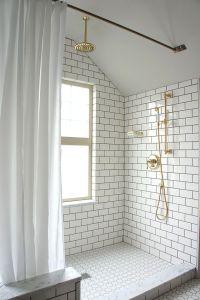Subway Tile Shower Walls, Octagon/Dot Floor Tile, Grey ...