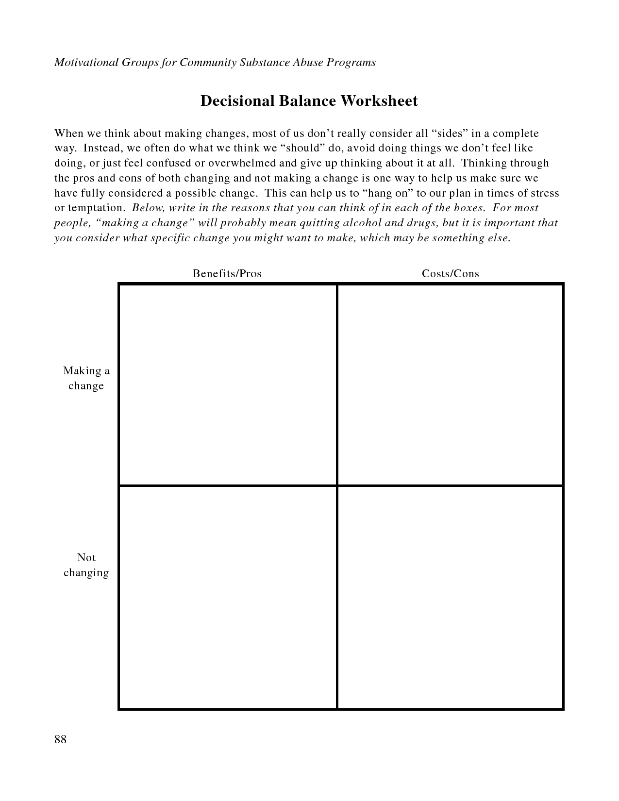 Free Printable Dbt Worksheets Decisional Balance Worksheet