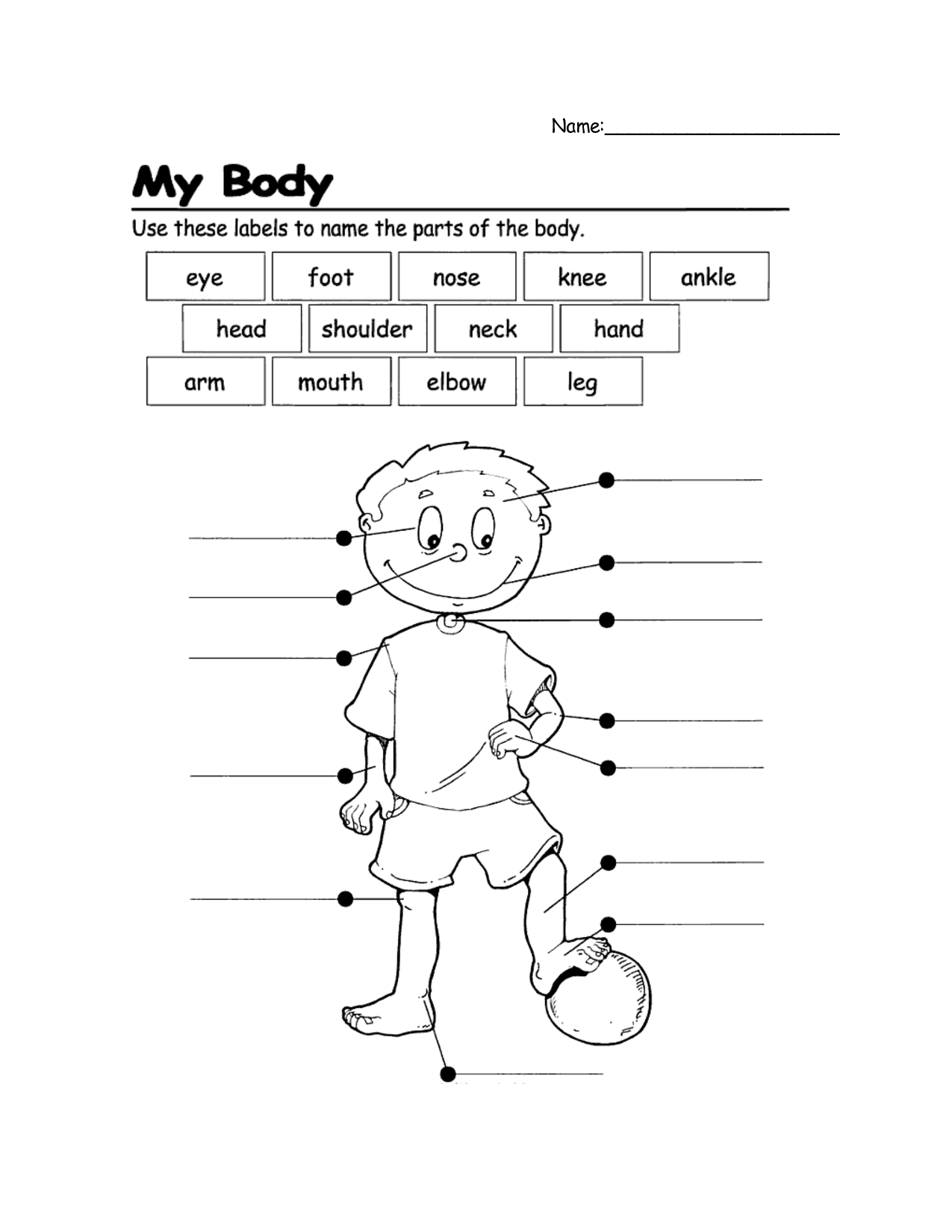Easy Body Part Worksheet