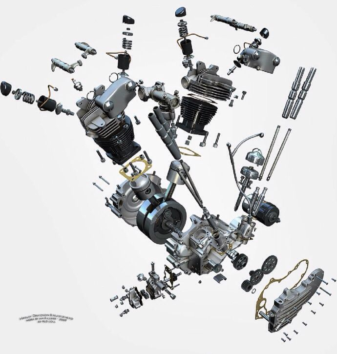 Cool exploded view art of H.D. Knucklehead motor