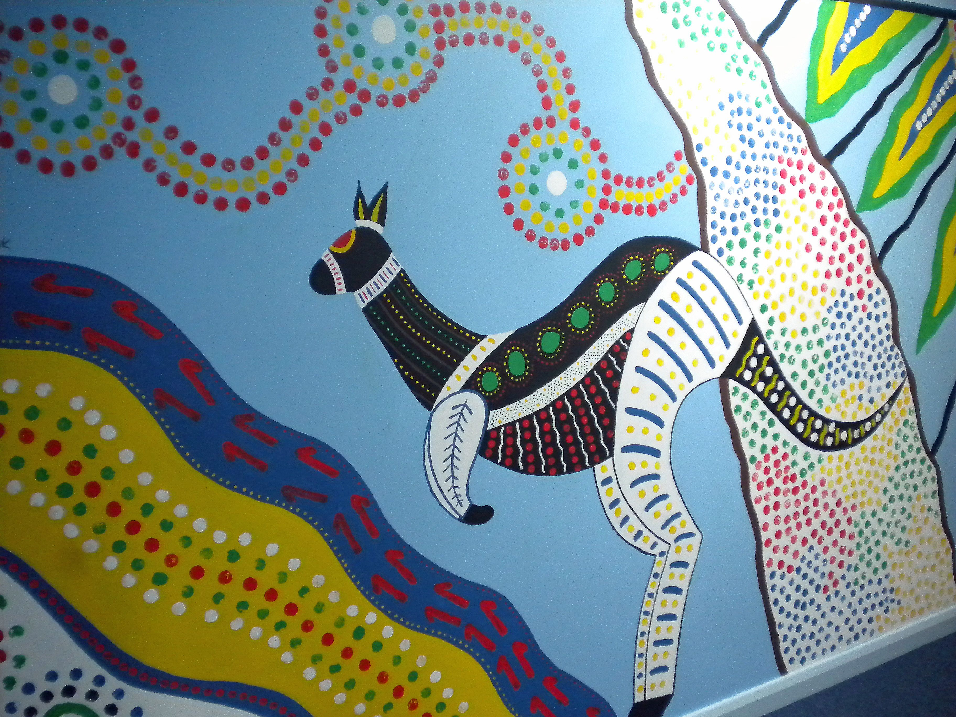 Aboriginal Style Mural For Kangaroo Classroom