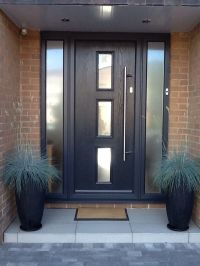 Contemporary grey front door grey with opaque sidelight ...