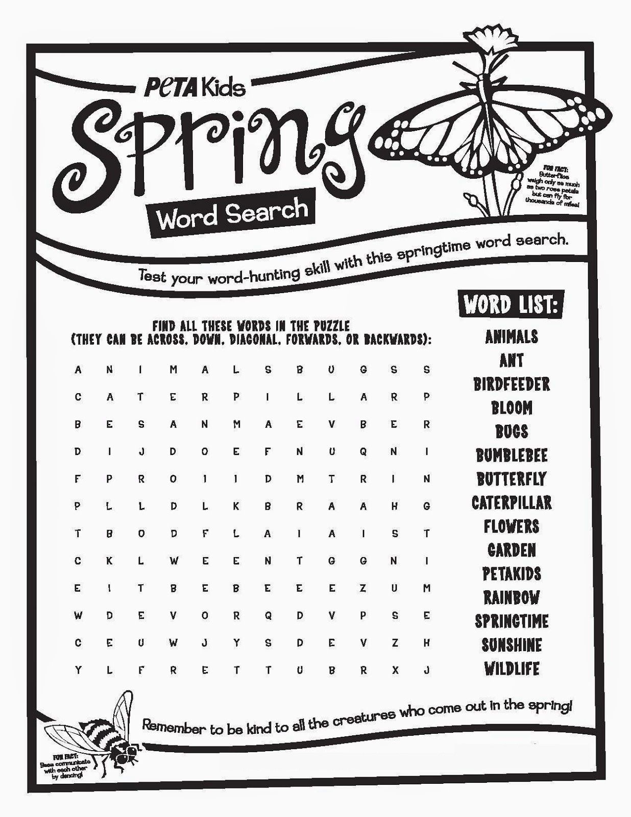 Spring Word Searches For Kids Free