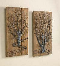 Metal Tree on Wooden Wall Art, Set of 2