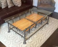 Industrial Iron Pipe Coffee Table w. Glass by ...