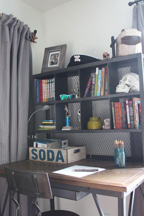 Teen Boys Small Bedroom An Update  Industrial desk