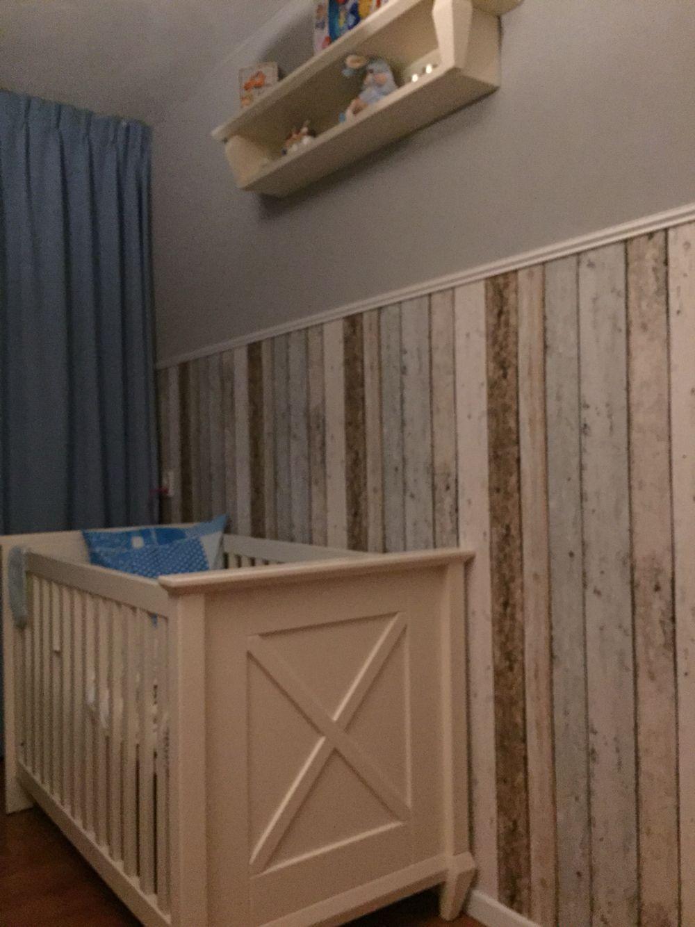 Muur met steigerhout behang  kamer joep  Pinterest