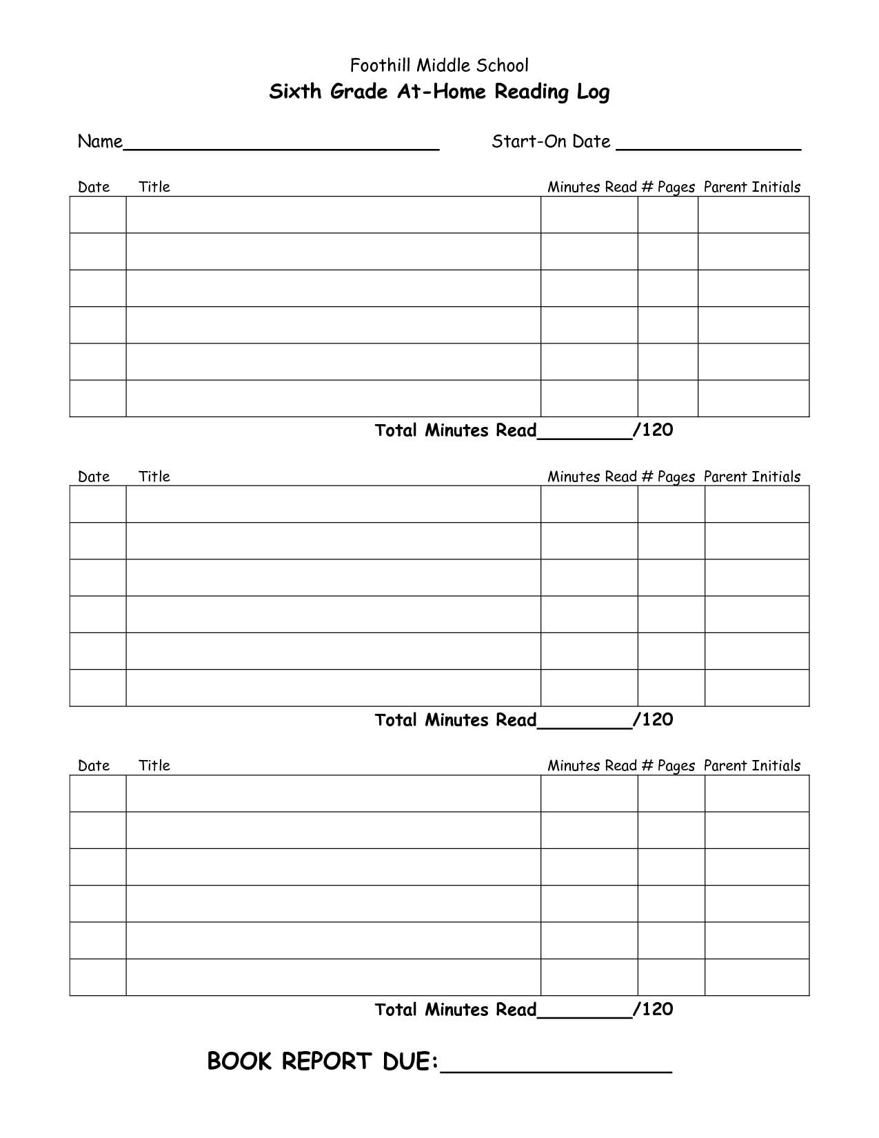 Reading Log For Middle School