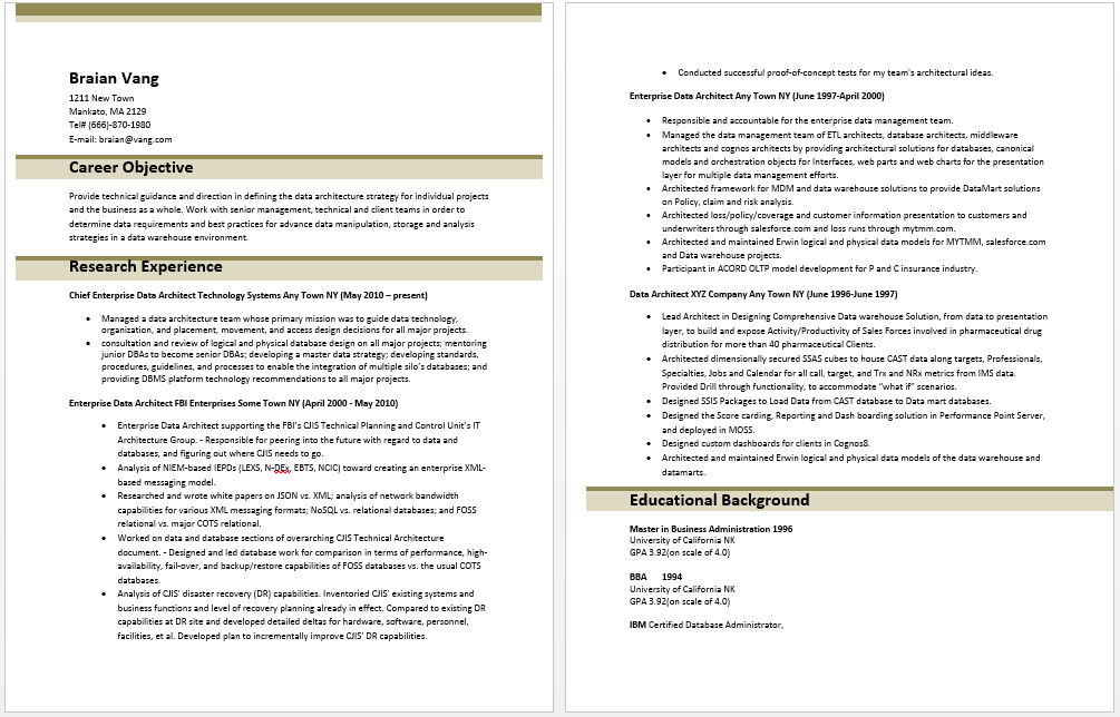 Enterprise Data Architect Resume  Resume Templates  Pinterest  Architect resume