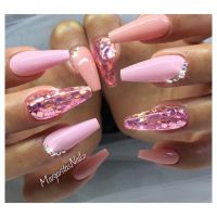 Pink and glitter coffin nails by MargaritasNailz nail art ...