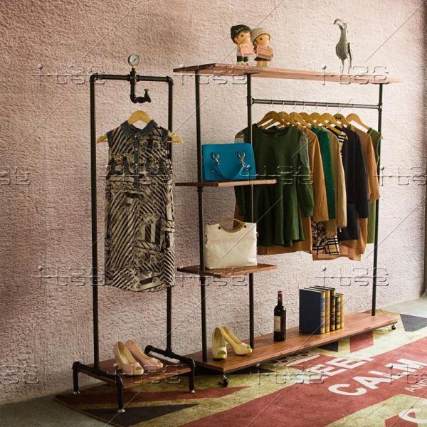 Loft Industrial Pipe Hangers Floor In Island Shelf