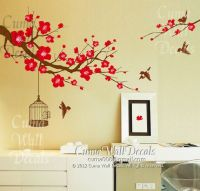 cherry blossom wall decal birds wall decals flower vinyl ...